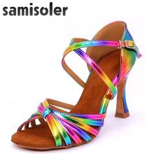 Samisoler Rainbow Colors Women Latin Dance Competition Shoes satin bright PU Womens Salsa Tango dance shoes