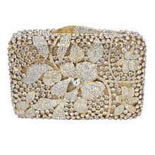 Silber Damen Bling Tasche Blumenmuster Abendtasche Blau Luxus Kristall aushöhlen Abend-handtasche gold kristall Kupplung 88364