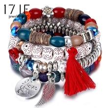 17IF браслеты с кристаллами и бусинами для женщин, Богемский Браслет, Женские Ювелирные изделия с кисточкой, натуральный камень, браслет с подвесками, Pulseira Feminina