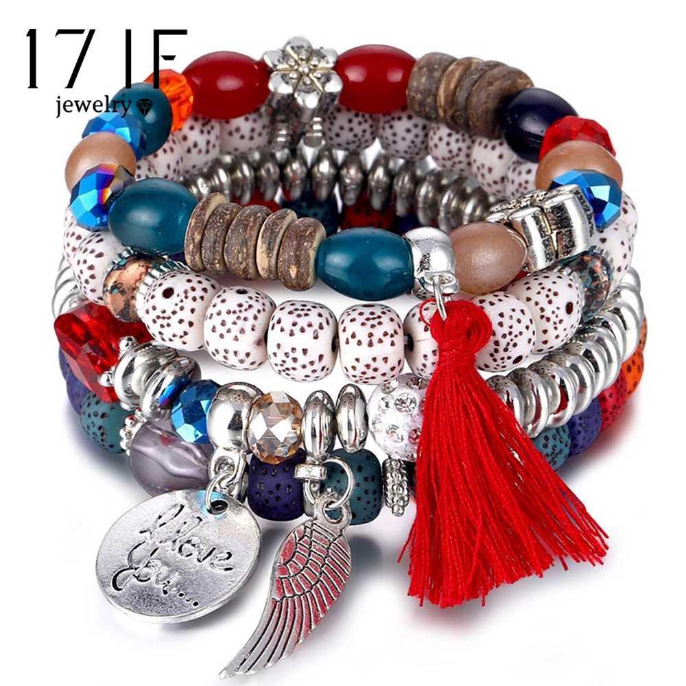 17if cristal grânulo pulseiras para mulheres boêmio pulseira feminina jóias borla pedra natural encantos pulseira feminina