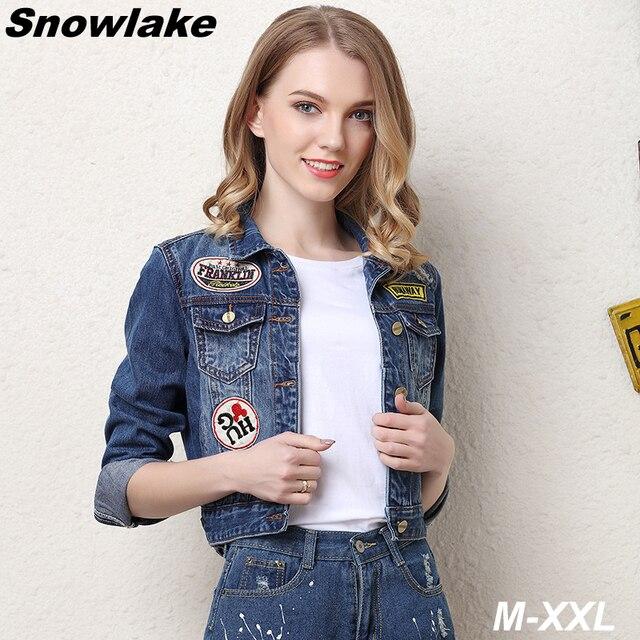 c8a7a15103c Snowlake Plus Size 2017 Summer Denim Jacket Women Slim Cotton Light Washed  Short Jeans Jacket Coats