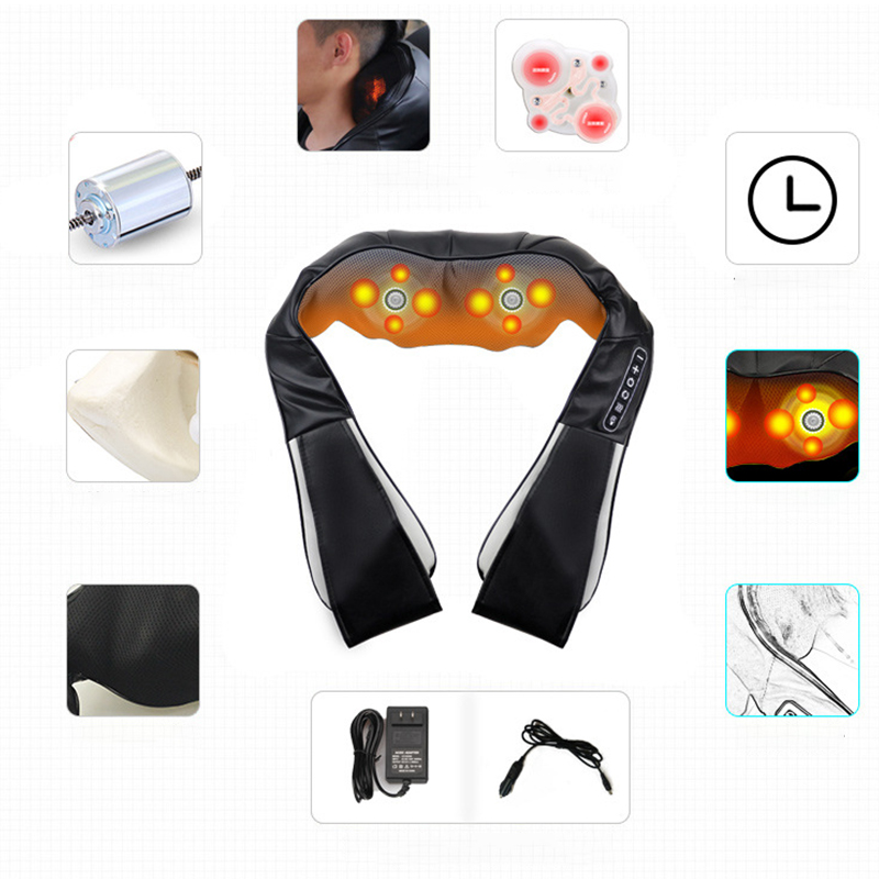 (110V )and (220V)Electric Massage Kneading Heating Infrared Therapy 4D Shoulder Neck Back Waist Pain Relief Health Care moledodo multifunction shoulder knock massager neck waist back vibrate massage cervical health care pain relief relaxation d50