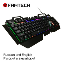 FANTECH K610  Russian and English Membrane Waterprof Gaming Keyboard RGB 104 Keys LED Light Keyboard 19 Key Without Conflict