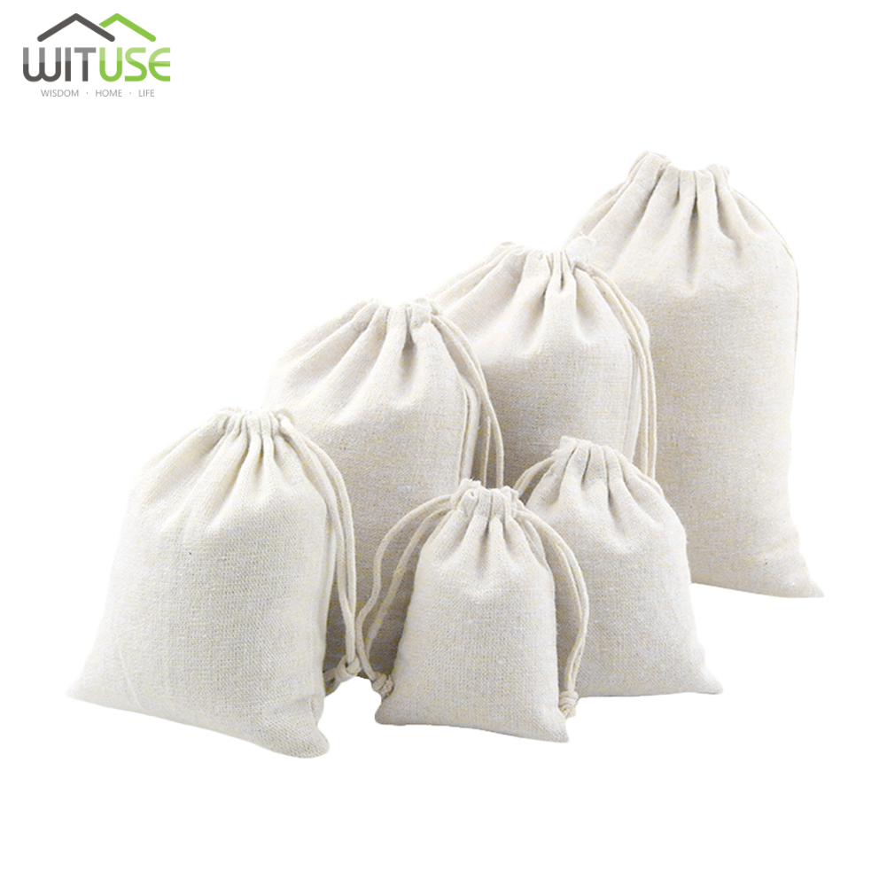 1Pc White Drawstring Cotton Linen Fabric Dust Cloth Bag Natural Burlap Hessia Candy Bags Wedding Party Favor Pouch Jute Gift Bag