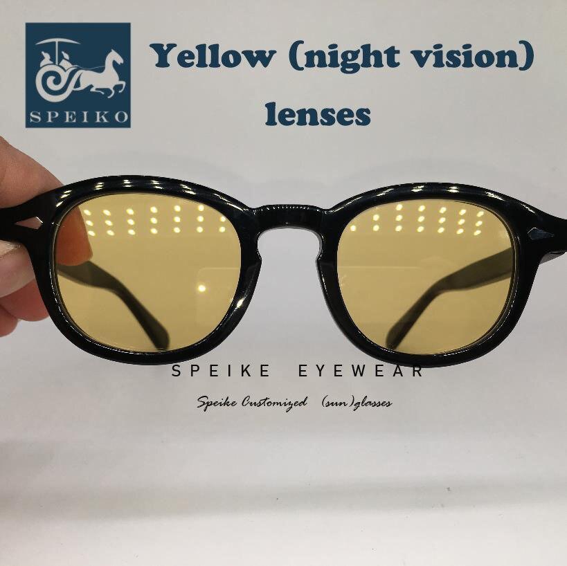 SPEIKE Customized vintage yellow lenses sunglasses Johnny Depp Lemtosh style retro night visionglasses can be myopia sunglasses