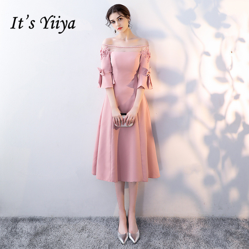 It's YiiYa Pink Off The Shoulder Half Sleeve Backless Appliques Ruffles Lace Zipper Cocktail Gowns Tea Length Formal Dress LX415