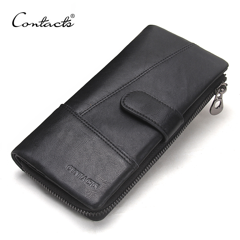 CONTACT'S Genuine Leather Long Wallets Top Quality Male Clutch Zipper Around Wallet Men Phone Pocket Coin Purse Card Holders baellerry 11 11 leather womens wallets coin pocket double zipper purse female long ladies phone clutch card holders wallet w049