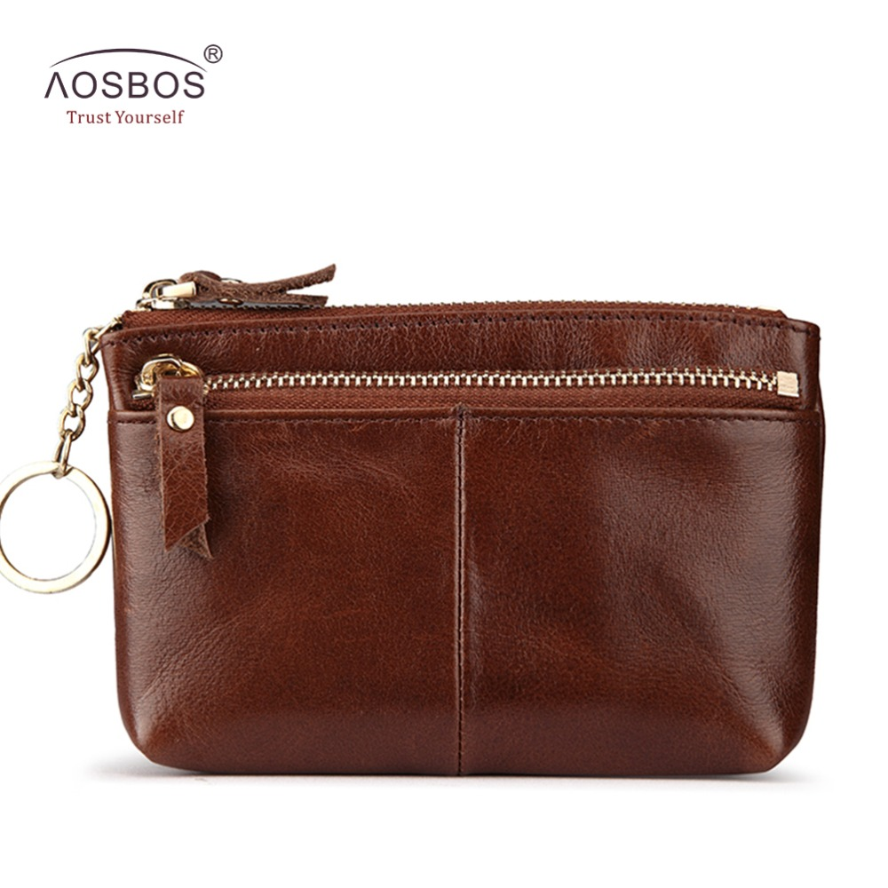 New Arrival Women Mini Casual Genuine Leather Wallet Double Zipper Soft Slim Coin Purses Head Layer Cowhide Men Money Key bag