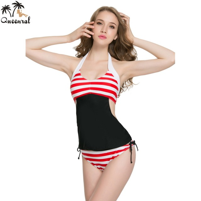 cbd07593bd3fb Queenral swimwear bra tankini plus size female large size bathing suit  plavky tankini bra women jpg
