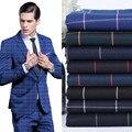 Мужские костюмы в полоску ткани высокого качества на заказ формальные деловые костюмы зерно пряжки досуг моды партия slim fit костюмы