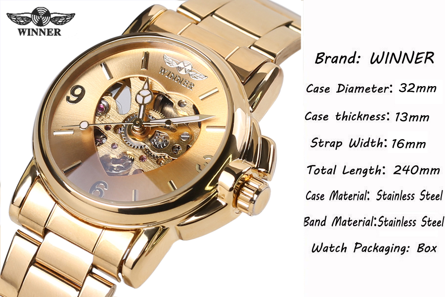 Winner Woman Watch Female Mechanical Skeleton Wristwatch 2016 Fashion Stainless Steel Casual Stylish Lady Gift Fress Shipping