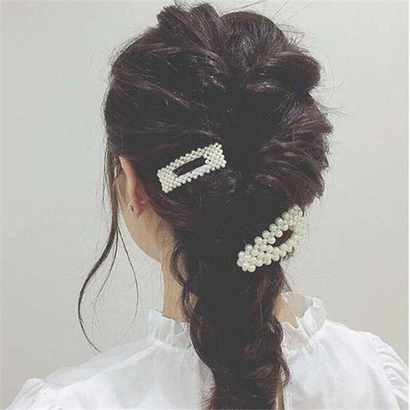 Женские заколки с жемчугом в Корейском стиле, серебристые элегантные Геометрические заколки для волос, свадебные украшения для волос, 2019