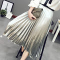 Autumn Modern metal color glossy fashion women's pure color high waisted pleated skirt Metallic color A-line Gold skirt BQ-88-79