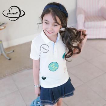 YAUAMDB kids polo shirts 2018 summer 4-13Y cotton girls tops tees clothing short sleeve polka dot letter cute children clothes41