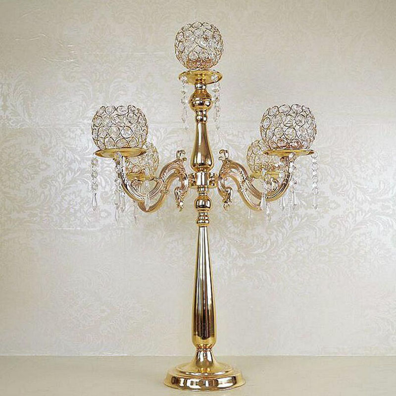 75cm Height 5 arms Metal Gold Plated Crystal Candelabras Candle Holder Wedding Party Decoration Romantic Candlelight ZA3889