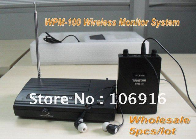 Wholesale 5pcs/lot TAKSTAR WPM-100 Wireless Monitor System In-Ear Wireless Headphones & Earbuds Computer Video TV Home Theater