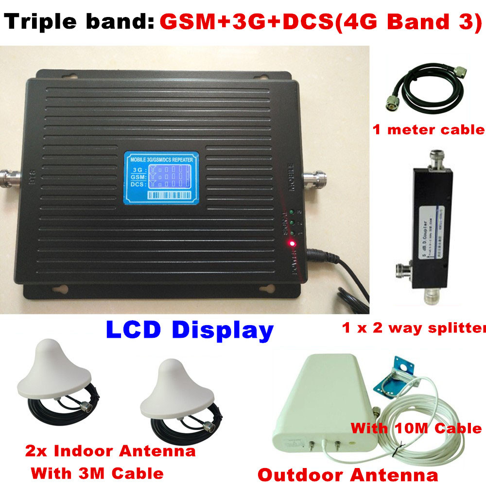 For 2 Rooms TriBand 2G 3G 4G GSM Repeater 900 WCDMA 2100 LTE 1800 Cellular Signal Booster 70dB Gain Gsm Repeater 3G 4G Amplifier