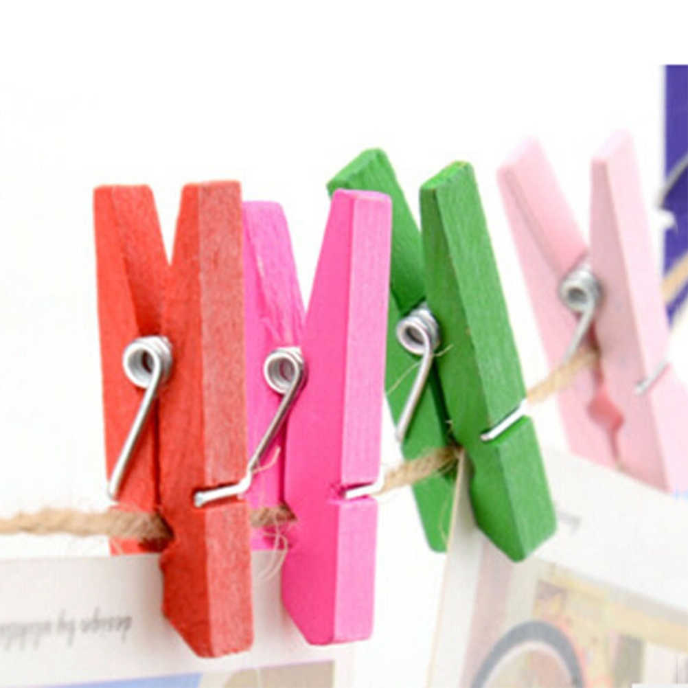 100 pcs Mini Natural Wooden Paper Clips Utility Versatile Clothespin Clips Picture Photo Cable Pictures Organizer Clips
