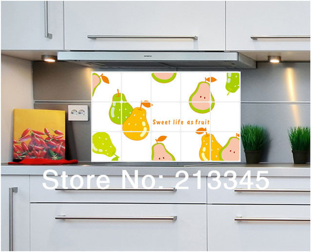 Tegel Decoratie Stickers : Fundecor] 45x75 cm gele peer fruit decoratie keuken tegel stickers