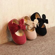 Г., весенне-осенняя модель, детская кожаная обувь От 1 до 3 лет маленькой принцессы с мягкой подошвой для девочек с бантиком, не может себе позволить Осенняя обувь