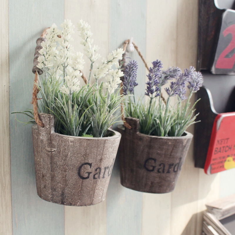 free shipping 2pcs lot round wooden pot with lavender. Black Bedroom Furniture Sets. Home Design Ideas