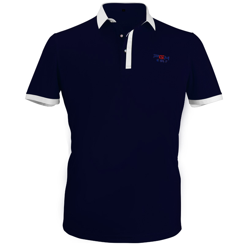 New Golf Apparel Mens Short Sleeved Polo T-Shirt Summer Breathable Dry Fit Running Sport Shirts (Navy)