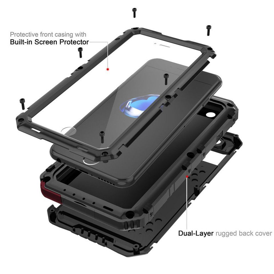 Doom Armor IP68 Waterproof Shockproof Heavy Duty Hybrid Tough Rugged Metal Case for iPhone X 8 7 6 6s Plus 5S XR XS Max cover