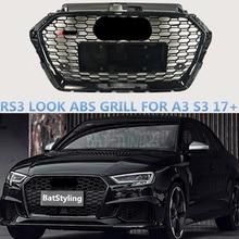 Черная рамка сотовая решетка ABS для A3 S3 RS3 17-19 Шестигранная сетка переднего бампера Sport Edition гоночная решетка с/без эмблемы