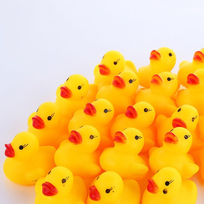 Lot 100 Unids / Toy Rubber Duck Duck Bath Toys Baby Shower Favors Water Toys For Baby Kids Birthday Gift Free Shipping