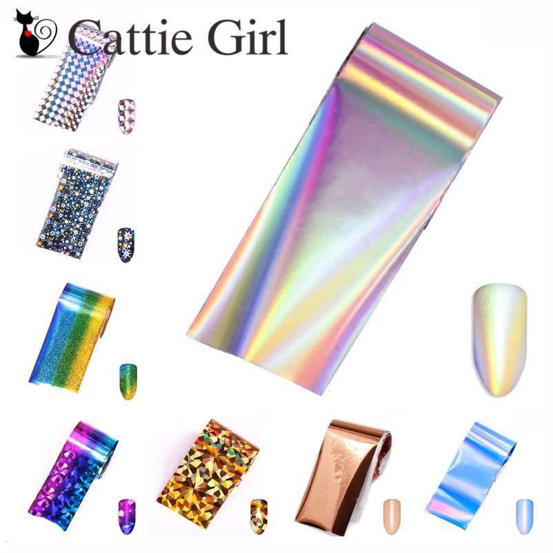 1 roll 4*100CM Holographic Nail Foils Geometric Design Wave Star Nail Art Transfer Foil Transfer Stickers Paper Nail Decals nail transfer foil holographic green design foil roll star paper fashion nail art decoration diy accessories nail tools wy233