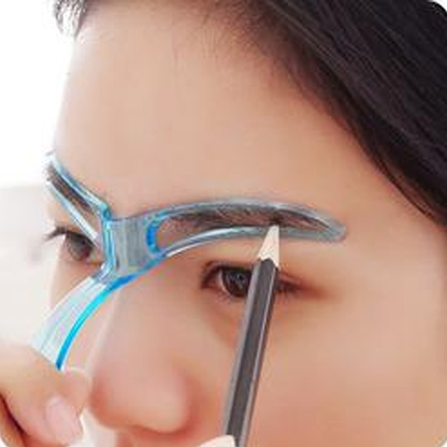 1 PC Blue Eyebrow Stencil Shaping Grooming Eye Brow Guide Model Drawing Eyebrow Template Reusable Design Makeup Tool
