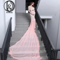 Stretch Lace Free Size Maternity Short Sleeves V Neck Dress Long Dress Maternity Photography Props Adjustable