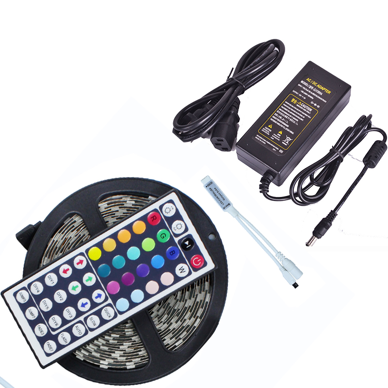 5050 RGB LED Strip Light DC12V 60LED/m 5m Flexible LED RGB Light Tape Lamp with 44 key Remote Controller+Power Adapter Supply 5A