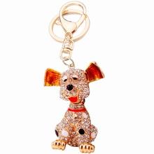 Zinc Alloy Rhinestone Big Ears Dog Keychain Fashion Women Car Crystal Key Chains Men Keyring Key Holder Personalized Gift R158