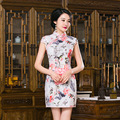 TIC-TEC chinese cheongsam short qipao print vintage fashion women tradicional oriental dresses party weeding clothes P2896