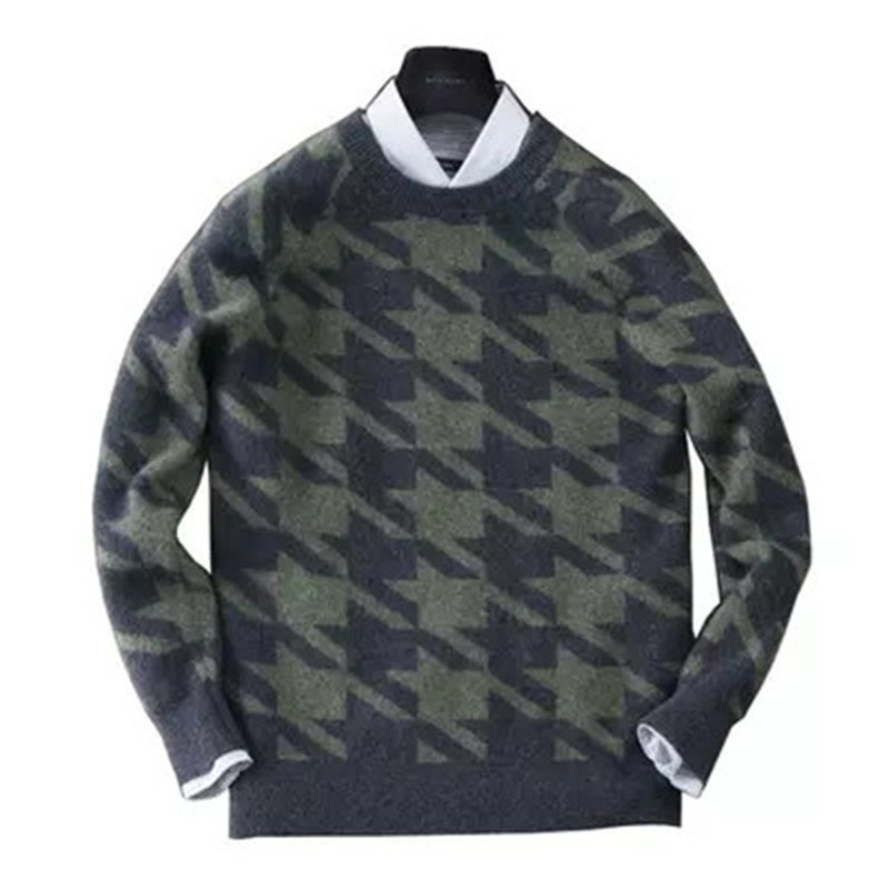 100%cashmere Oneck Knit Men Smart Casual Plover Case Grain Loose Thick Pullover Sweater S-2XL