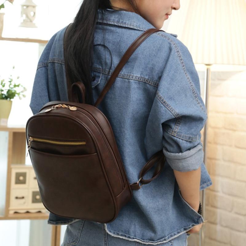 Women School Satchel 9151 Vintage Shoulder Bag Backpack Travel Mini Rucksack Purse Vintage Synthetic Leather