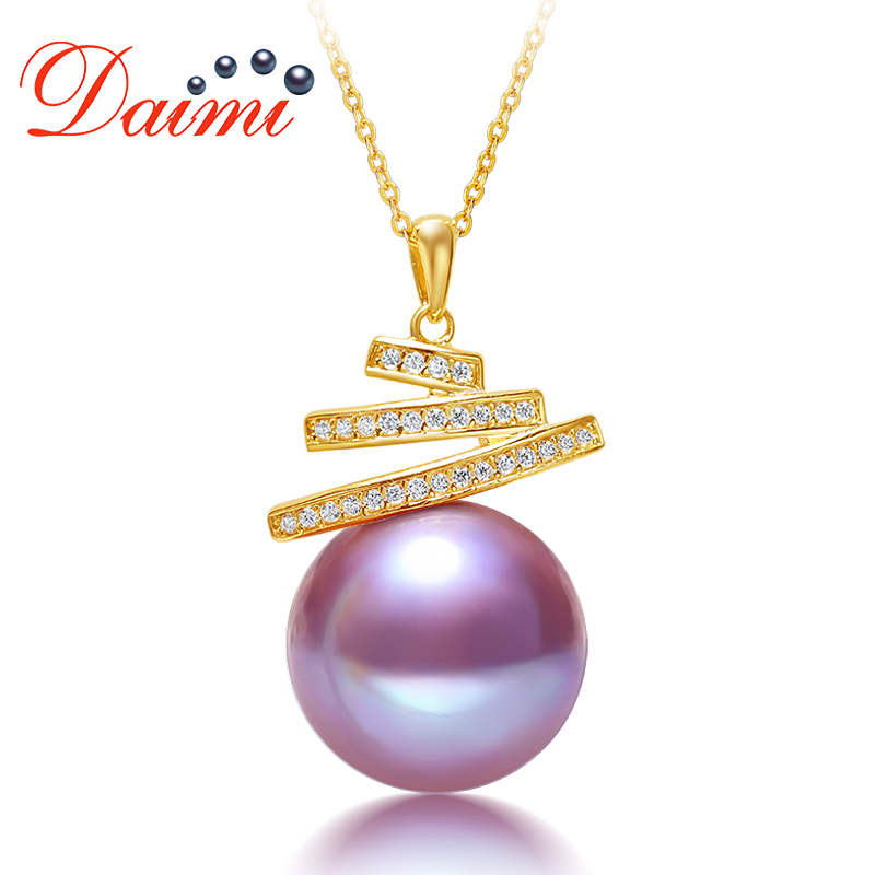 DAIMI 11 12mm Natural Pearl Pendant Necklace Real 925 Sterling Silver Big Round Purple Pearl Necklace