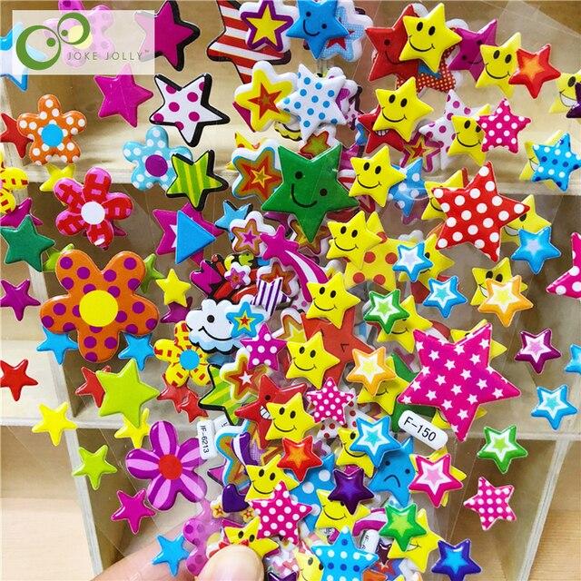 10 hojas 3D pegatinas hinchadas estrella niños niñas regalo juguetes para niños la recompensa del maestro suministros niños juguetes de Aprendizaje Temprano GYH