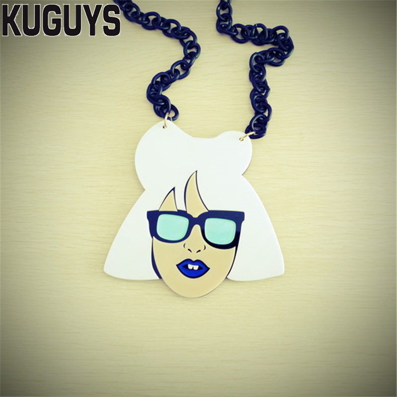 KUGUYS Jewelry for Womens Acrylic Large LADY GAGA Pendant Necklace Girls Gift HipHop Trendy Sweater Chain Long Necklaces ...