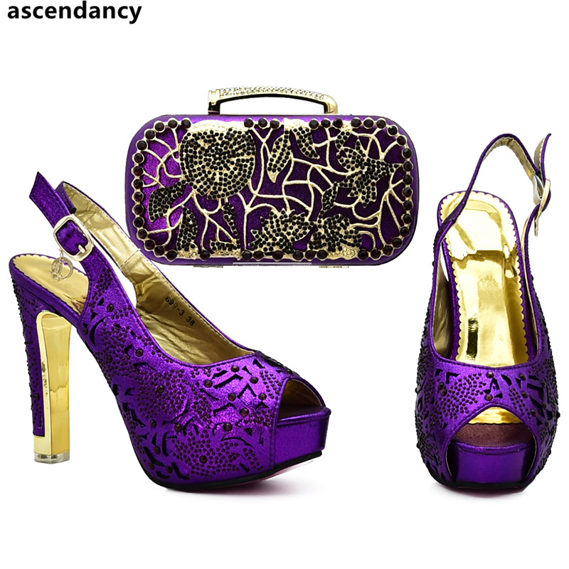 e258ffcef4 New Arrival African Shoes and Matching Bags Italian Nigerian Party Shoe and Bag  Sets Decorated with Rhinestone Pumps Women Shoes