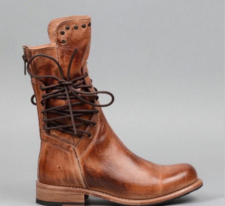 48b2de1666e4a Zapatos mujer sapato femmes mi mollet matin bottes dames chaussure fille  vintage PU cuir chaussons chaussures femme chaud à lacets TA0184 dans Bottes  ...