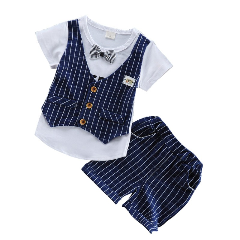 High Quality New 2pcs/set Boys Summer Clothes Sets Children Letter T-shirt Plaid Pants Kids Handsome Suits Comfortable For Dress