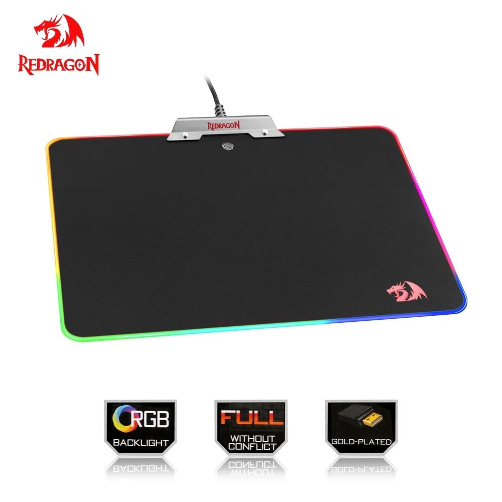 Redragon RGB USB tapis de souris coloré éclairage de LED noir tapis de souris de jeu pour ordinateur portable ordinateur portable pour aller LOL Dota CS jeu