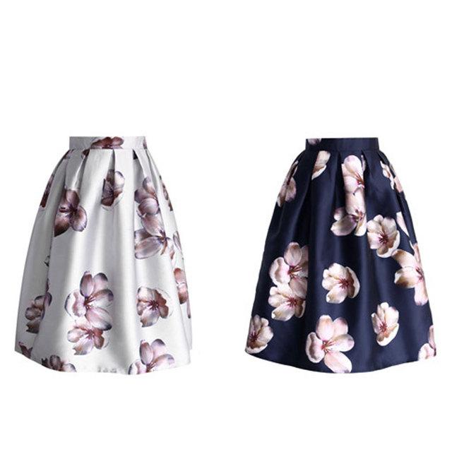 Skirts  Knee-Length Midi  High Waist  Flower  Midi