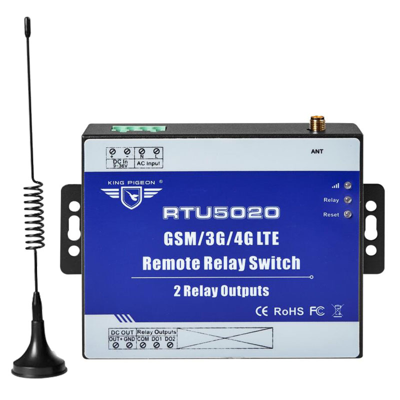 Wireless Relay Switch 3G 4G SMS Remote Controller With 2 Relay Outputs For Street Light Automation Control RTU5020