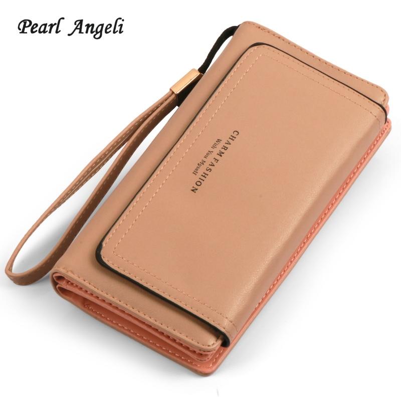 Pearl Angeli Women Wallets Clutch Female Purses Phone Card Holders Belt Handle Purse Interior Zipper Pocket Girls Wristlet Purse