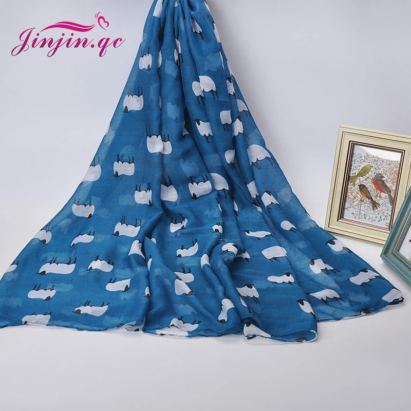 Jinjin QC fashion viscose scarf Spring women Sheep Print Scarves and Shawls bandana echarpe foulard