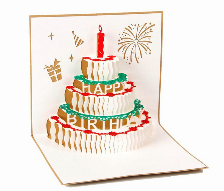 Swell 3D Greeting Card Handcrafted Origami Birthday Cake Candle Design Funny Birthday Cards Online Inifodamsfinfo