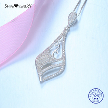 Shipei 100% Sterling Silver White Sapphire Leaf Pendant Necklace Fine White Gold Rose Gold Yellow Gold Necklace Chain For Women 1 carat round cut simple bezel set solitaire 14k yellow white rose gold black moissanites necklace fine jewelry necklace chain